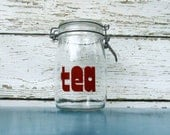 RESERVED for Patricia tea typography jar 1 liter / retro glass canister