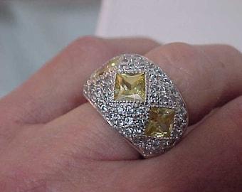 Vintage Ring/Lemon Citrine Ring/Sterling Citrine Ring