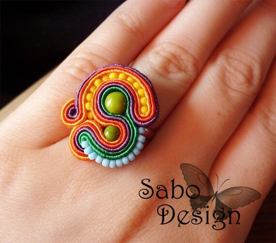 reserved for Patti MEXICO soutache embroidery ring handmade in red, orange, violet and green, summer fashion jewelry, TOHO beads, ooak.