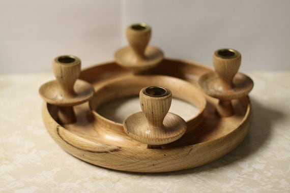 Wood Advent Wreath Candle Holder Christmas Handturned
