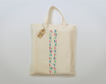 Big cotton tote bag ABC stencil alphabet - hand painted design