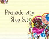 Premade Etsy Shop Image Set - Design 85 Retro Rainbow