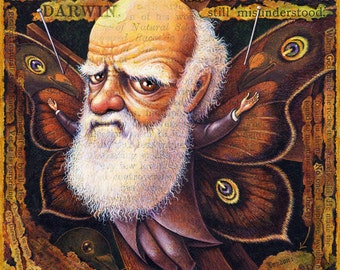 Evolution art print, Specimen: Darwin, Charles Darwin with butterfly wings, Fantasy science geek gift , Oddity Curiosity Curious Art