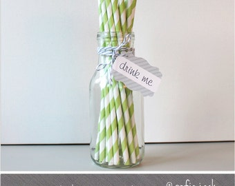 Apple Green - Striped Paper Straws - 25 pack