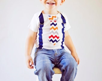Baby Boy tie Bodysuit with Suspenders-  Fall, Holiday, Chevron, Polka Dot