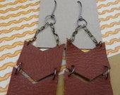 Brown Leather Chevron & Chain Earrings
