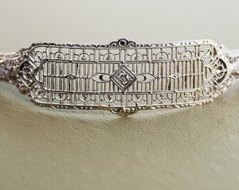 Antique Filigree 14k White Gold and Diamond Bracelet