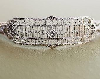 Antique Bracelet - Antique Filigree 14k White Gold and Diamond Bracelet