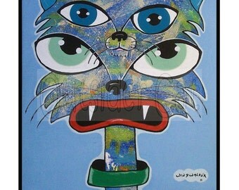 "Original Outsider Folk Art Cat Print,""Ying Yang Cat"", Ugly-Cute Cat Art Print, Whimsical Cat Art, Outsider Cat by Windwalker Art"