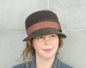 Ladies' Custom Made Hat-Brown Wool Felt Hat - Derby-Bowler-Women's Hand Blocked Hat- Small Brim, Ribbon and Feather Detail, Classic-OOAK