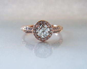 Half Carat Diamond Halo Rose Gold Tapered Knife Edge Half Eternity Engagement Ring
