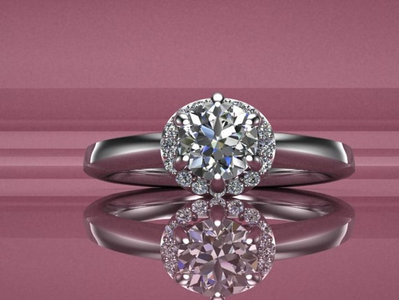 Taken Diamond Engagement Ring Diamond Halo Hand Engraved 14K White Gold