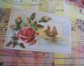 Romantic Victorian Rose and Sailing Trade Card
