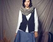 Black Jacket Vest / Linen Shirt Top / Black Vest- custom made