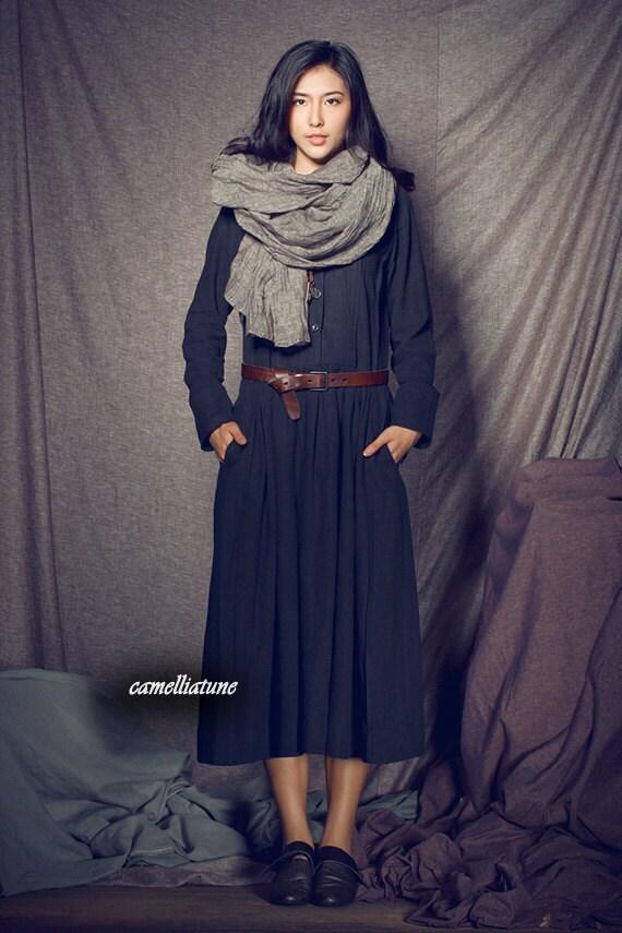 Linen Winter Dress in Black / Long Pleated Dress Gown / Trenchcoat Dress Coat Dress Long Dress - Custom