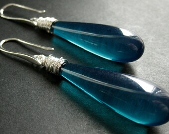 Teal Earrings. Long Earrings. Extra Long Teardrop Earrings Wire Wrapped in Silver. Handmade Jewelry.
