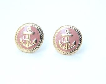 ON SALE! Pink Anchor Studs - Golden Anchor Earrings