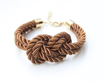 Brown silk cord Knot Bracelet - 24k gold plated