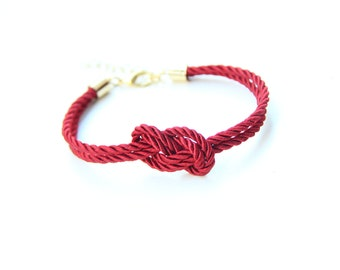 Bridesmaid gift - Small dark red silk Knot Bracelet - 24k gold plated