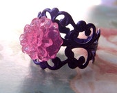 Chrysanthemum Ring, Resin Jewelry, Pink Glitter Flower Ring, Purple Base, On Trend, Cute, Women's Jewelry