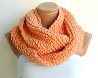 infinity Scarf. a Block Infinity Scarf. Loop Scarf, Circle Scarf, Neck Warmer. Orange Crochet Infinity