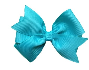 4 inch turquoise hair bow - turquoise bow, pinwheel bows, girls hair bows, 4 inch bows, toddler bows, hair clips, turquoise hair bows