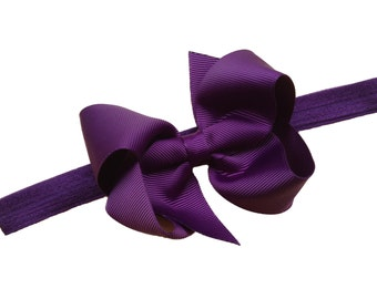 Dark purple headband with 4 inch bow - dark purple bow headband, baby headband, newborn headband