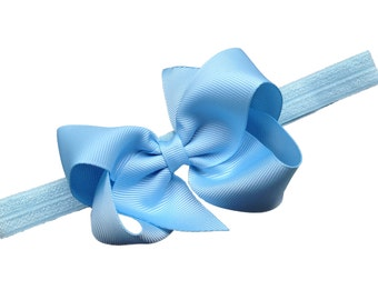 Light blue headband with matching bow - light blue baby headband, newborn headband, 4 inch bow headband