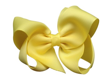 4 inch lemon yellow hair bow - yellow bow, 4 inch bows, boutique bows, girls hair bows, toddler bows, yellow hair bows, girls bows