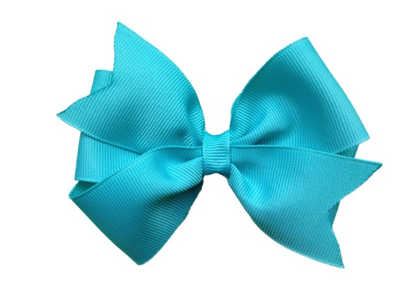 4 inch turquoise hair bow - turquoise bow