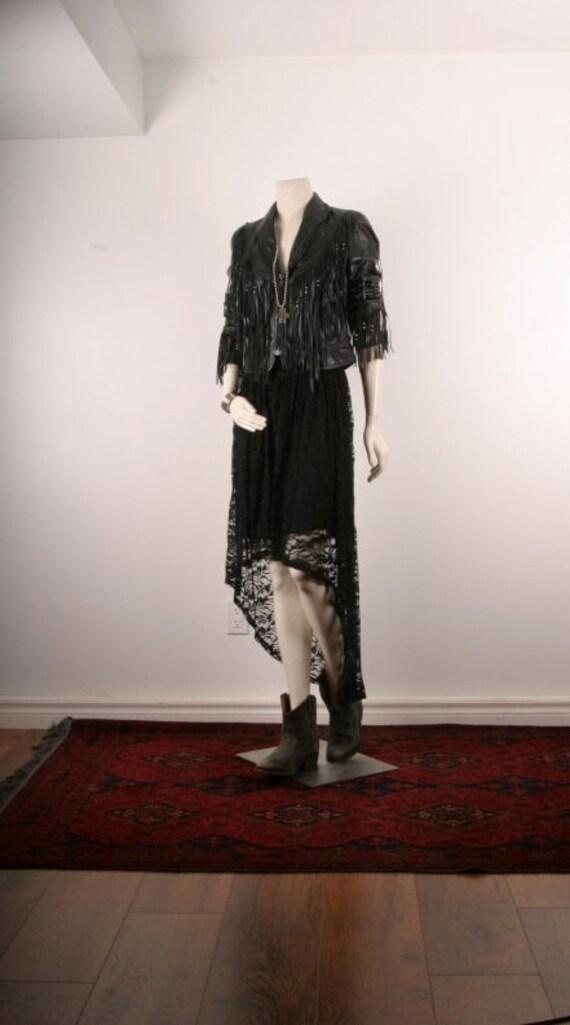 Leather jacket black fringe vintage women size S or M small or medium