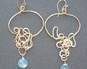 Hammered squiggle hoop earrings choice of gemstone Nouveau 146