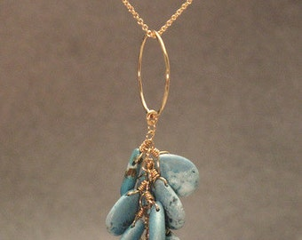 Hammered circle with turquoise Necklace 207