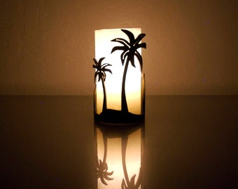 Palm Trees (Positive)-1152- Steel Candle Holder Luminary