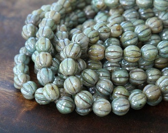 Opaque Green Luster Czech Glass Beads, 8mm Melon - 25 pcs - eP65431-08