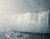 Dramatic Niagara Photograph, Niagara Falls Black and White Photograph, Gray, Mist, Clouds Print 8x10 or 8x12, Home decor