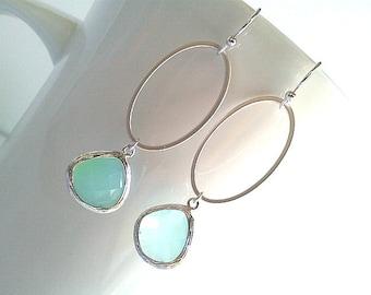 Simple Ice Blue silver earrings ,Drop, Dangle, Gemstone Earrings, bridesmaid gifts,Wedding jewely, christmas earrings, christmas gift