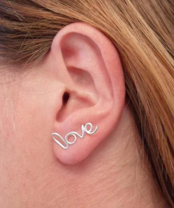 LOVE Earring, Argentium 93% Sterling Silver. LOVE Handwritten Single Stud Earring. Cartilage. Hypoallergenic.