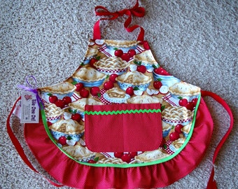 Apron-Girls Ruffled Apple Pie Print-Size 4 to 6