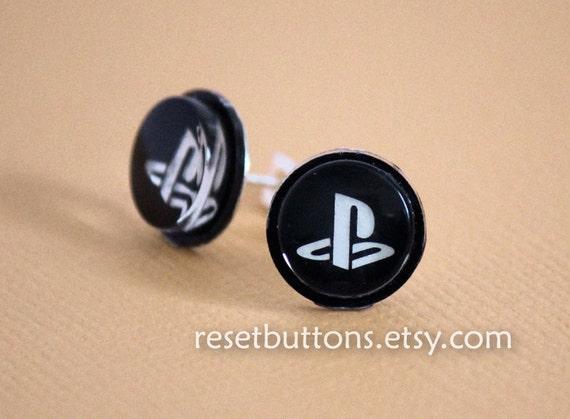 PS3 Button Earrings (Black)