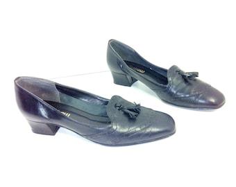 REDUCED~ Leather Wingtip Loafer Heels with Tassel 8 - Black Preppy Tassel Loafers 8