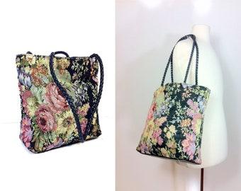 90s Floral Tapestry Shoulder Bag - Floral Tote Bag