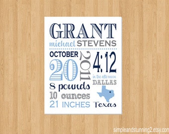 8x10, Custom Birth Print, Baby Announcement, Birth Announcement, Blue and Gray