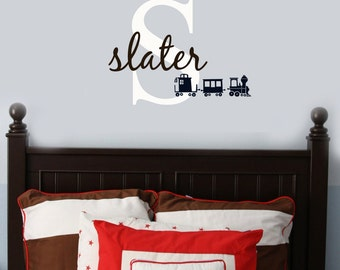 Vinyl Wall Decal Sticker Initial and Name TRAIN clipart  baby boy nursery decor