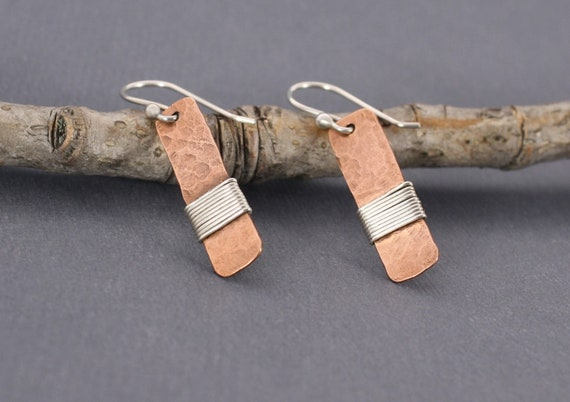 Copper and Sterling Silver Wrapped Earrings - Mixed Metal Earrings - Fall Accessory