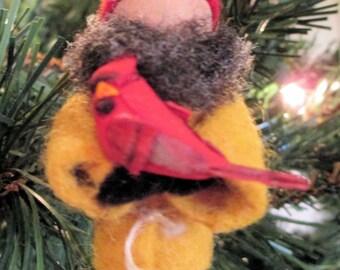 Gnome Ornament, Clothespin - Tomte