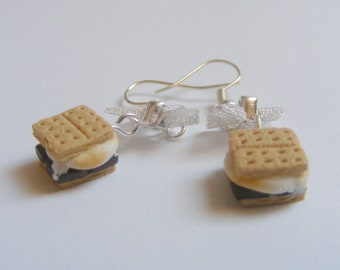 Food Jewelry Smores Earrings, Miniature Food Earrings, Scented Jewelry, Mini Food earrings, Kawaii Earrings, Smores Jewelry, Cookie Earrings