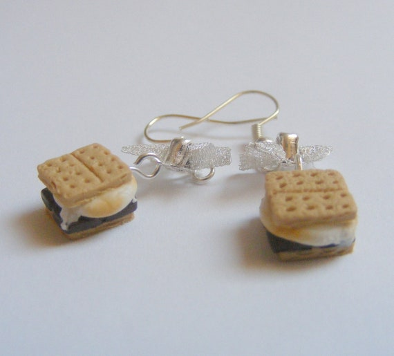 Food jewelry smores earrings miniature food earrings scented for How to make scented jewelry