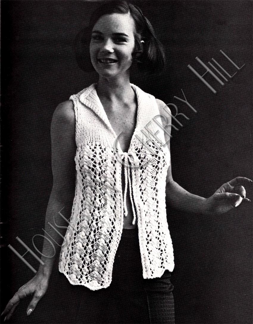 Sexy Knitting Patterns : Sexy 70s Vest Knit Pattern digital printable by HouseonCherryHill