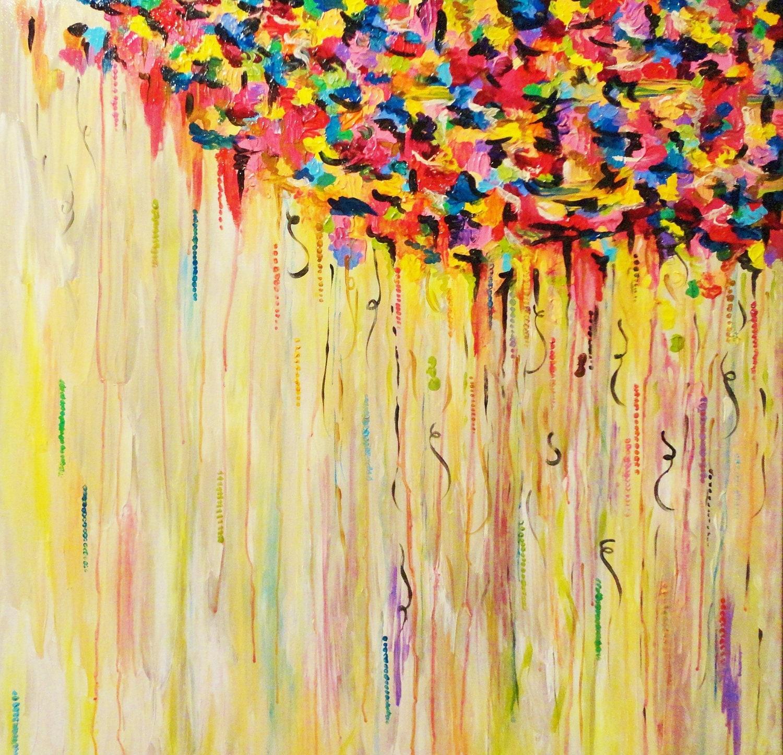 RAINING SUNSHINE Huge 30 X Abstract Painting Acrylic Art